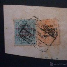 Sellos: MARRUECOS, EDIFIL Nº 61 Y 63, SOBRE FRAGMENTO, MATASELLOS CERTº TETUAN 8 JUNIO 1921. Lote 52861077