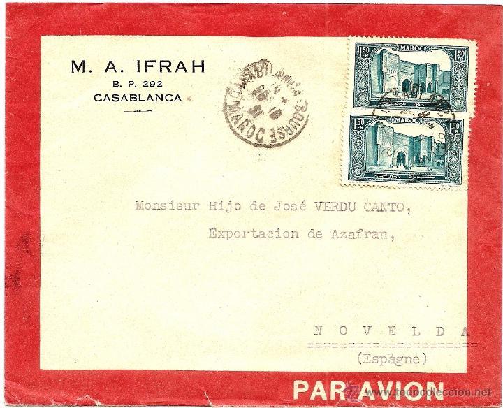 CARTA CIRCULADA DE M.A. IFRAH DE CASABLANCA (MARRUECOS) A NOVELDA (ALICANTE) POR AVIÓN 1931 (Sellos - España - Colonias Españolas y Dependencias - África - Marruecos)