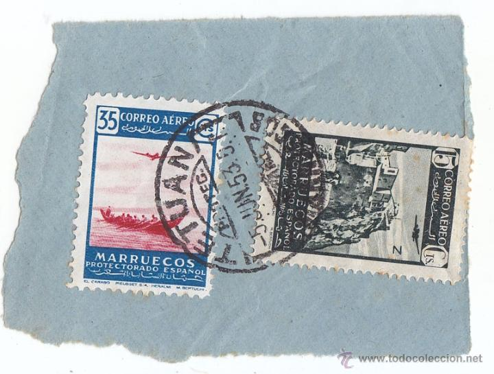 2 SELLOS PROTECTORADO ESPAÑOL DE MARRUECOS. CORREO AÉREO. FECHADOR TETUÁN. 1953. SOBRE FRAGMENTO (Sellos - España - Colonias Españolas y Dependencias - África - Marruecos)