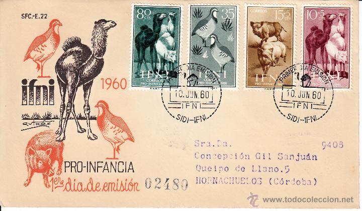 EDIFIL 159/62. SPD CIRCULADO A HORNACHUELOS. EN REVERSO ED. 143 CON ROMBO DE PUNTOS IFNI. (Sellos - España - Colonias Españolas y Dependencias - África - Ifni)