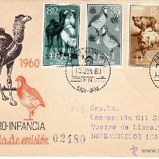 Sellos: EDIFIL 159/62. SPD CIRCULADO A HORNACHUELOS. EN REVERSO ED. 143 CON ROMBO DE PUNTOS IFNI.. Lote 54681885