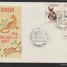 Sellos: FERNANDO POO Nº 259/61 AÑO 1967 - FAUNA , DIA DEL SELLO - SOBRE PRIMER DIA EX COLONIAS . Lote 74177465