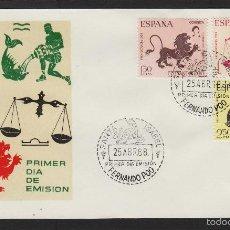 Sellos: FERNANDO POO Nº 265/67 AÑO 1968 - SIGNOS ZODIACO - SOBRE PRIMER DIA EX COLONIAS . Lote 55368916