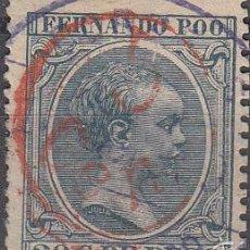 Sellos: EDIFIL 40H. ALFONSO XII, 20 C. DE PESO 1896 -1900. 5 CEN. DE PESO. USADO.. Lote 56006178