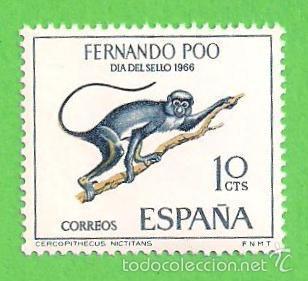 EDIFIL 251 - FERNANDO POO - DÍA DEL SELLO - CERCOPITECO. (1966).** NUEVO SIN FIJASELLOS. (Sellos - España - Colonias Españolas y Dependencias - África - Fernando Poo)