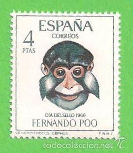 EDIFIL 254 - FERNANDO POO - DÍA DEL SELLO - CERCOPITECO. (1966).** NUEVO SIN FIJASELLOS. (Sellos - España - Colonias Españolas y Dependencias - África - Fernando Poo)