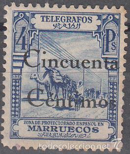 TELEGRAFOS EDIFIL 33. SELLO DE 1928 HABILITADO EN 1935. NUEVO CON FIJASELLOS. RARO (Sellos - España - Colonias Españolas y Dependencias - África - Marruecos)