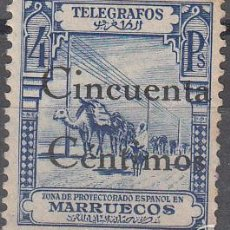Sellos: TELEGRAFOS EDIFIL 33. SELLO DE 1928 HABILITADO EN 1935. NUEVO CON FIJASELLOS. RARO. Lote 56295905