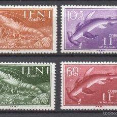 Sellos: IFNI 118/21** - AÑO 1954 - FAUNA MARINA - PECES Y CRUSTACEOS - DÍA DEL SELLO. Lote 132153983