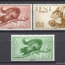 Sellos: IFNI 125/27** - AÑO 1955 - FAUNA - ARDILLAS - DIA DEL SELLO. Lote 108687734