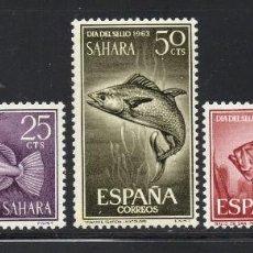 Sellos: SAHARA 222/24** - AÑO 1964 - FAUNA MARINA - PECES - DIA DEL SELLO. Lote 56542666