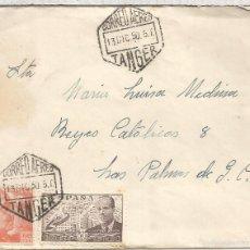 Stamps - TANGER CC A LAS PALMAS MAT HEXAGONAL CORREO AEREO 1950 SELLOS FRANCO PERFIL Y LA CIERVA - 57720831
