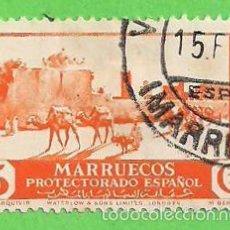 Sellos: EDIFIL 150 - MARRUECOS - VISTAS Y PAISAJES - CARAVANA JUNTO A ALCAZARQUIVIR. (1937).. Lote 58391049