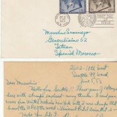 Sellos: CARTA : N: YORK (NACIONES UNIDAS) A TETUAN 1953. Lote 61802856