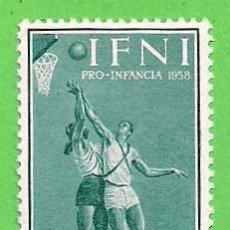 Sellos: EDIFIL 147 - IFNI - PRO INFANCIA - BALONCESTO. (1958).** NUEVO SIN FIJASELLOS.. Lote 63013408