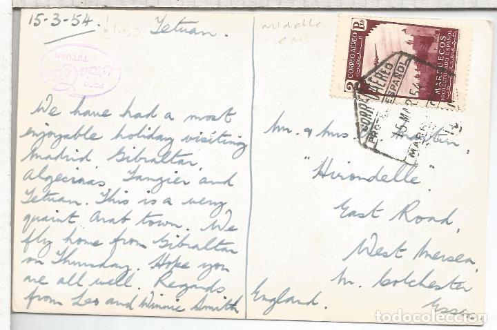 MARRUECOS TETUAN TARJETA POSTAL 1954 MAT HEXAGONAL CORREO AEREO (Sellos - España - Colonias Españolas y Dependencias - África - Marruecos)