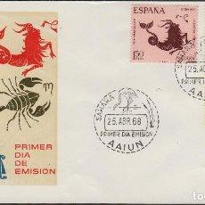 SAHARA Nº 265/67 AÑO 1968 HOROSCOPO SIGNOS ZODIACO . SOBRE PRIMER DIA SPD / FDC EX COLONIAS .
