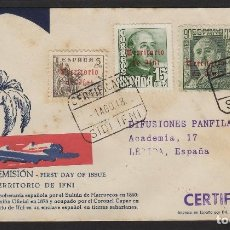 Sellos: IFNI: CARTA CIRCULADA 1948 MAT CERTIFICADO DEST LERIDA FQ HABILITADOS FRANCO .LLEGADA . MUY RARA. Lote 64882159