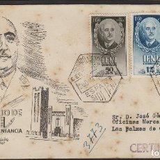 Sellos: IFNI CARTA SERIE 68/70 .1950 MATASELLO CORREO AÉREO CERTIFICADO EN SOBRE PRIMER DIA DEST LAS PALMAS. Lote 64882879