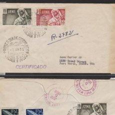 Sellos: IFNI - 1953 -SOBRE PRIMER DIA DEST TEXAS /USA MAT LLEGADA , CORREO AÉREO . SELLOS 92 , 93 ,MAGNÍFICO. Lote 64894467