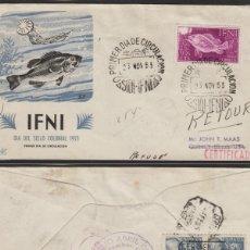 Sellos: IFNI - 1953 -SOBRE PRIMER DIA DE DP , DÍA DEL SELLO , FAUNA PECES , PEZ DEST USA MAT LLEGADA. Lote 64894787