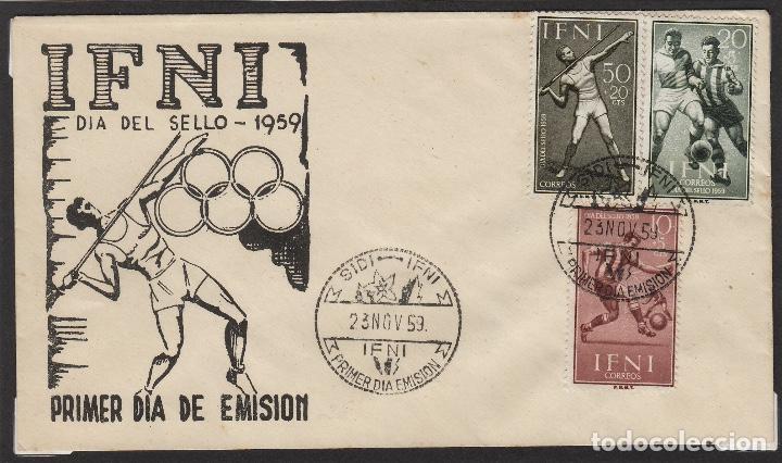 IFNI -1959 Nº 156/8 FUTBOL, JABALINA .SOBRE PRIMER DIA CON MUY RARA ILUSTRACION (Sellos - España - Colonias Españolas y Dependencias - África - Ifni)