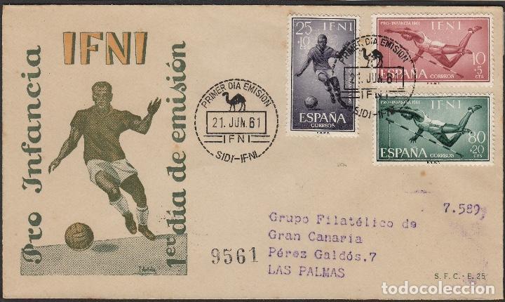 Sellos: IFNI -1961 Nº 176 /8 PRO INFANCIA , DEPORTES .SOBRE PRIMER DIA CIRCULADO dest LAS PALMAS - Foto 2 - 64896127