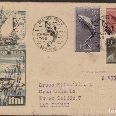 Sellos: IFNI -1958 Nº 149/51 BARCOS Y PECES .SOBRE PRIMER DIA S.F.C . CIRCULADO LAS PALMAS. Lote 64896711