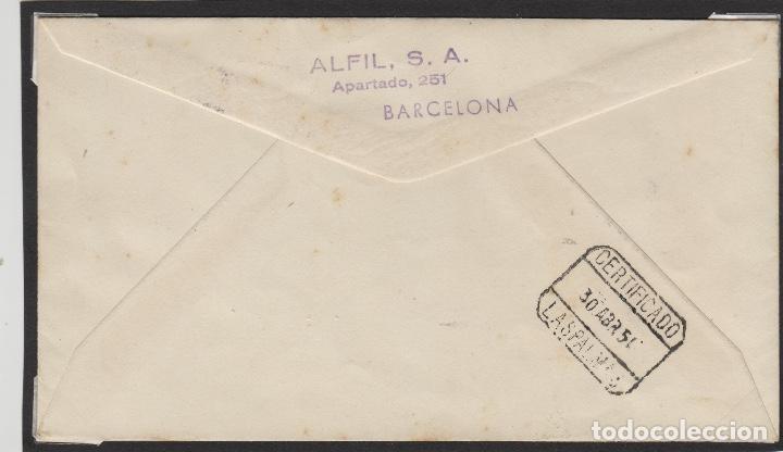 Sellos: SAHARA . Nº 87 AÑO 1951 - ISABEL LA CATÓLICA MAT VILLA BENS -SOBRE PRIMER DIA ALFIL dest LAS PALMAS - Foto 2 - 64936319