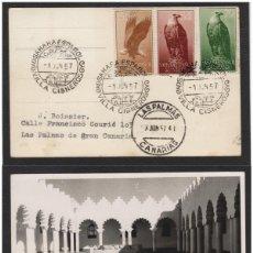 Sellos: SAHARA Nº 129/41 AÑO 1957 AVES TARJETA POSTAL CIRCULADA MAT PRIMER DIA DESTINO LAS PALMAS (CANARIAS). Lote 64974747