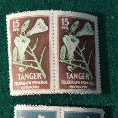 Sellos: TANGER. FLORES (TELÉGRAFO ESPAÑOL HUÉRFANOS). 8 UDS. DE CADA EN PAREJAS. Lote 67352607