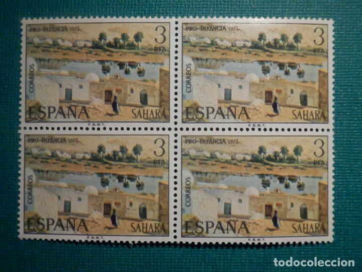 SELLO - ESPAÑA - SAHARA - PRO INFANCIA - PINTURAS - EDIFIL 321 - BLOQUE DE 4 - 1975 (Sellos - España - Colonias Españolas y Dependencias - África - Sahara)