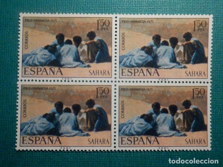 SELLO - SAHARA - SERIE PRO INFANCIA - PINTURAS - EDIFIL 320 + 321 - 1975 - 1,50 + 3 PTS BLOQUE 4 (Sellos - España - Colonias Españolas y Dependencias - África - Sahara)