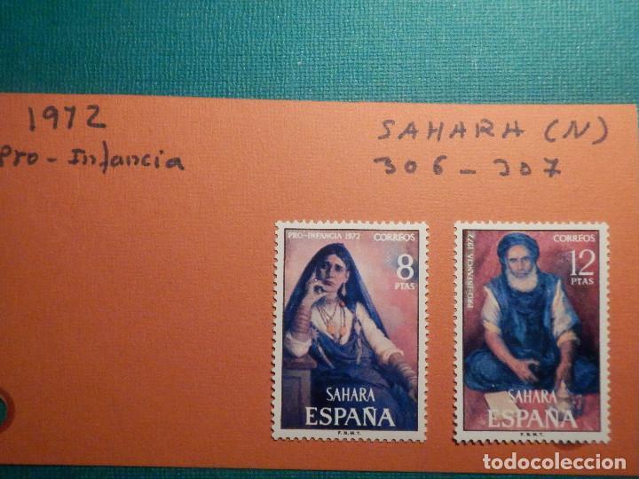 SELLO - SAHARA - SERIE PRO INFANCIA PINTURAS - EDIFIL 306 + 307 - 1972 - 8 Y 12 PTS (Sellos - España - Colonias Españolas y Dependencias - África - Sahara)