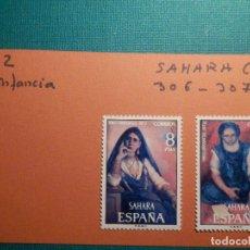 Sellos: SELLO - SAHARA - SERIE PRO INFANCIA PINTURAS - EDIFIL 306 + 307 - 1972 - 8 Y 12 PTS. Lote 68880325