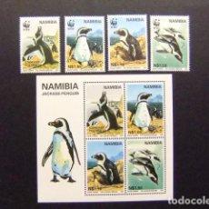 Sellos: NAMIBIA NAMIBIE 1997 PROTECTION DE LA FAUNE WWF YVERT 790 / 93 + BLOC 28 ** MNH. Lote 68919329