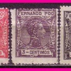 FERNANDO POO 1907 Alfonso XIII, B4 EDIFIL nº 152 a 156 *
