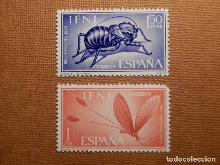 SELLO - ESPAÑA - IFNI - PRO INFANCIA - INSECTOS - EDIFIL 213 Y 214 - 1965 - 2 VALORES (Sellos - España - Colonias Españolas y Dependencias - África - Ifni)