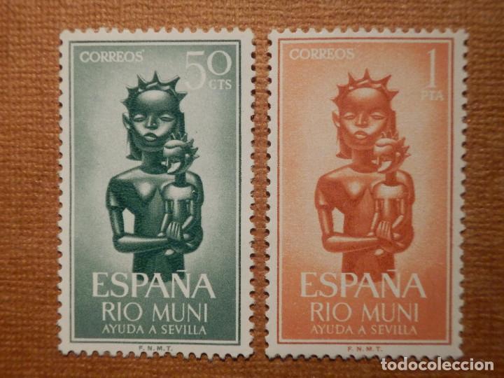 SELLO - ESPAÑA - RIO MUN I- EDIFIL 35 Y 36 - AYUDA A SEVILLA - 1963 - SERIE DE 2 VALORES (Sellos - España - Colonias Españolas y Dependencias - África - Río Muni)
