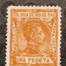 Sellos: NUEVO - EDIFIL 28 CON FIJASELLOS - RIO DE ORO - AÑO 1907. Lote 77660789