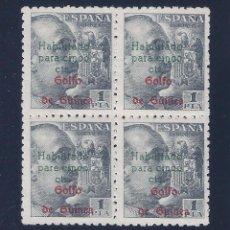 Sellos: EDIFIL 273. GUINEA. HABILITADO PARA 15 CTS. 1949 (BLOQUE DE 4). MNH **. Lote 79791953