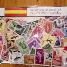Sellos: 200 SELLOS EX COLONIAS ESPAÑOLAS DIFERENTES LA MAYORIA SIN CIRCULAR. Lote 99313991