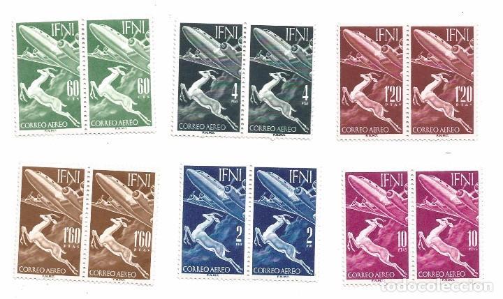 IFNI .- 1953 .- GACELA Y AVION .- NUEVOS .- COMPLETA (Sellos - España - Colonias Españolas y Dependencias - África - Ifni)