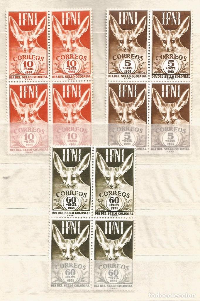 IFNI 1951 .- DIA DEL SELLO .- BLOQUE DE CUATRO (Sellos - España - Colonias Españolas y Dependencias - África - Ifni)