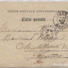 Sellos: SOBRECARGA 10 CENTIMOS SELLO FRANCES COMERCIO Y PAZ TANGER MARRUECOS POSTAL CIRCULADA 1902. Lote 89536088