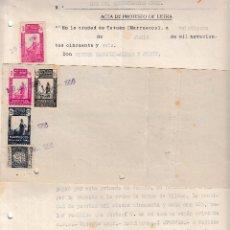 Sellos: 1956 TETUAN. LETRA Y PROTESTO SELLOS FISCALES IMPUESTO MARRUECOS Y PRO MUTILADOS. FIRMA CONSUL. Lote 89857003