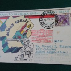 Sellos: 1939.TARJETA POSTAL.1º EXPOSICION FILATELICA JUVENIL DE MINAS GERAIS.BELO HORIZONTE.BRASIL.. Lote 90127084