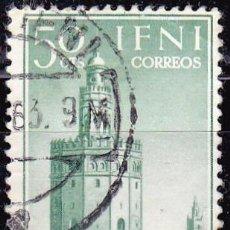 Sellos: IFNI -1963 - AYUDA A SEVILLA - TORRE DEL ORO ( SEVILLA ) - EDIFIL 193 - USADO. Lote 91341635