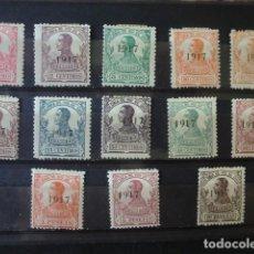 Sellos: RIO DE ORO,1917,ALFONSO XIII,HABILITADOS,EDIFIL 91*-103*,COMPLETA,NUEVOS CON FIJASELLO,(LOTE AB). Lote 92839450