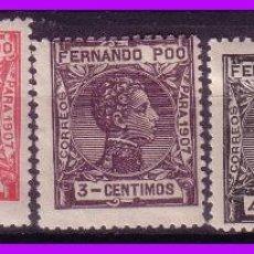 Sellos: FERNANDO POO 1907 ALFONSO XIII, EDIFIL Nº 152 A 156 *. Lote 95570063